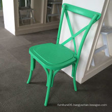 Green Plastic Resin PP Stackable Cross Back Chair