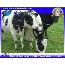 Valla de ganado de malla de alambre anudada galvanizada usando en el rebaño, cerca de campo, valla fija