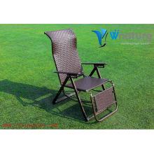 Chaise pliable confortable, chaise de plage de rotin, chaise extérieure de rotin de haut dossier