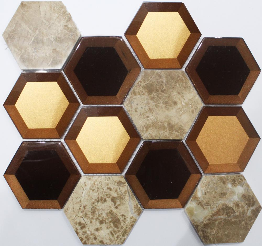 New Shiny Hexagon Crystal Glass Mosaic