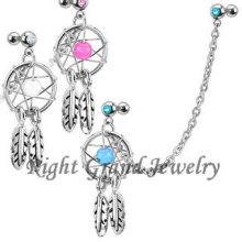 Venta al por mayor Turquoise Color Dream Catcher Dangle Cartilage Earrings