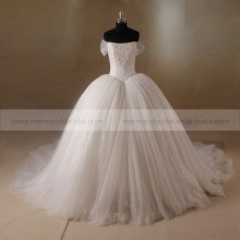 Luxurious Straight Neckline Cap Sleeve Lace Beaded Bodice Sequins Tulle Ball Gown Wedding Dress