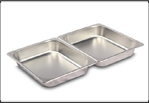 Stainless steel serving plate 2 grids