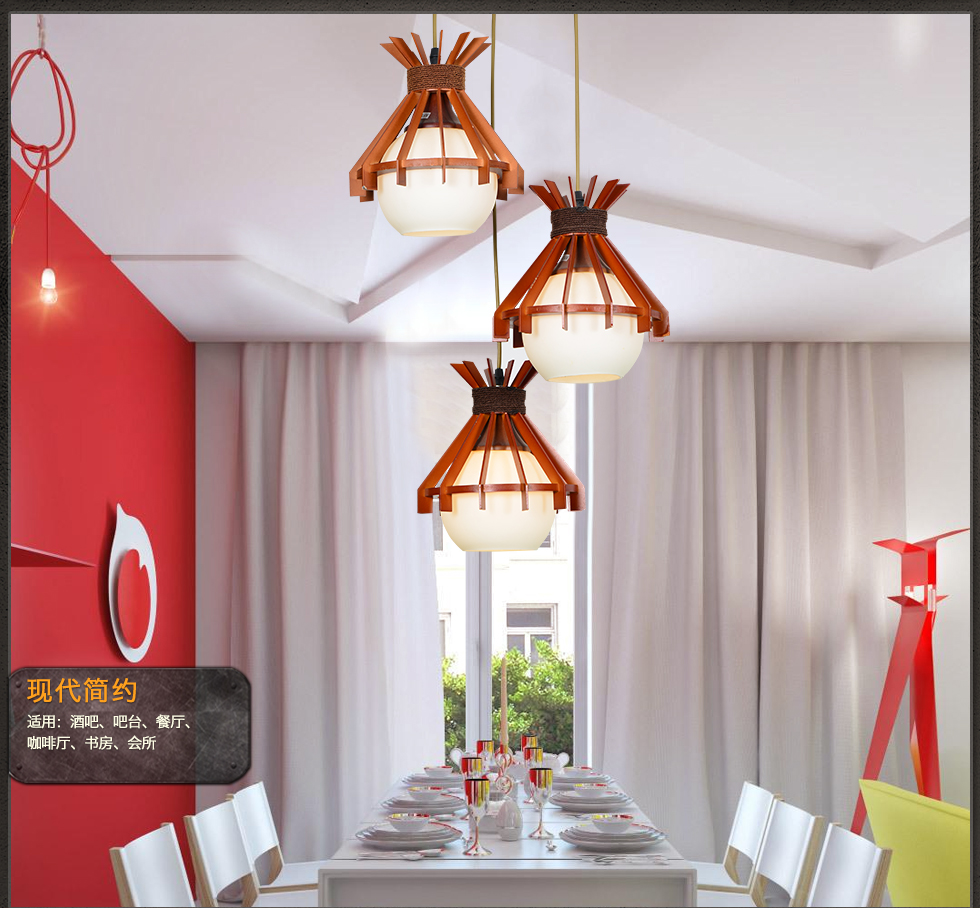 Wood Pendant Lamp For Dining Room