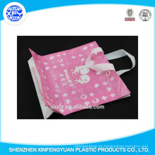 Manija de la longitud de la mano Bolso de compras plástico con insignia modificada para requisitos particulares