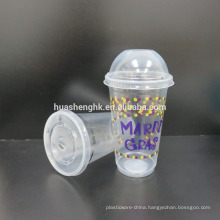 High Quality Food Grade Clear Plastic Disposable 17oz/500ml smoothie cups with lids for wholesale