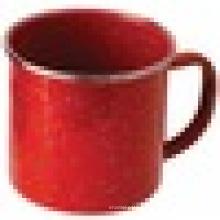 На открытом воздухе Нержавеющая сталь чаша эмалированная посуда обод, Красная эмалированная кружка
