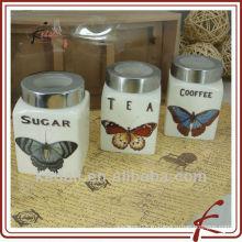 Бабочка дизайн Дешевые керамические фарфоровые косметические конфеты крем хранения Jar