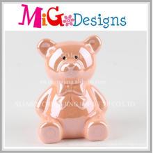 Tirelire en céramique attrayante quotidienne d'ours rose de tous les jours