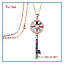 Moda chave colar de pingente de cadeia longa colar de jóias
