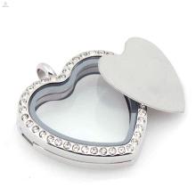 316l Edelstahl Glas Schwimm Charme Medaillon Silber leere Herz Platten Großhandel