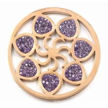 Мода сменных цветов монет плиты с фиолетовым кристаллом
