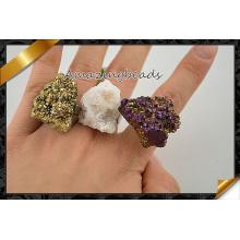 Raw Rock Quartz Druzy Beads Rings, Geode Ring Jewelry Wholesale (FR011)