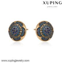 93068 Xuping Mode 18 Karat Gold Farbe Stud Damen eingelegten Stein Hoop Ohrring