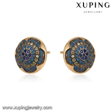 93068 xuping fashion 18k gold color stud ladies inlayed stone hoop earring
