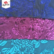 Polyester Spandex Velvet Burnout Recycled Dyed Fabric