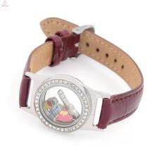 Envoltório de couro pulseira medalhão barato personalizado pulseiras de pano, flutuante relógio medalhão