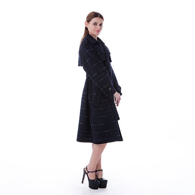 New blue checked cashmere winter coat