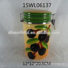 2016 новый керамический герметичный контейнер с оливковым рисунком