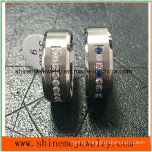 Fashion Stainless Steel Glass Stone Titanium Ring (TR1826)