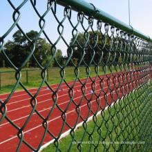 Clôture enduite de mailles de lien de chaîne de PVC dans la couleur verte