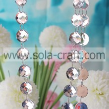 White 16mm Mirror Crystal Acrylic Teardrop Prism Diamond Cut Bead Garland