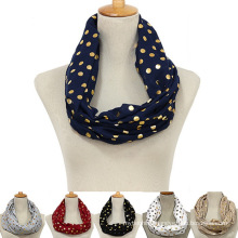 China manufacture latest fashion lightweight cotton golden polka dots loop women snood infinity scarf