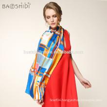 100% pure silk long women scarf with fashionable plaid shawl