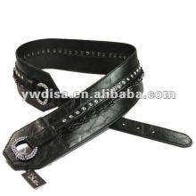Correa de la PU de las mujeres con la PU negra, rhinestones claros, accesorios de la aleación, metal del gun-metal