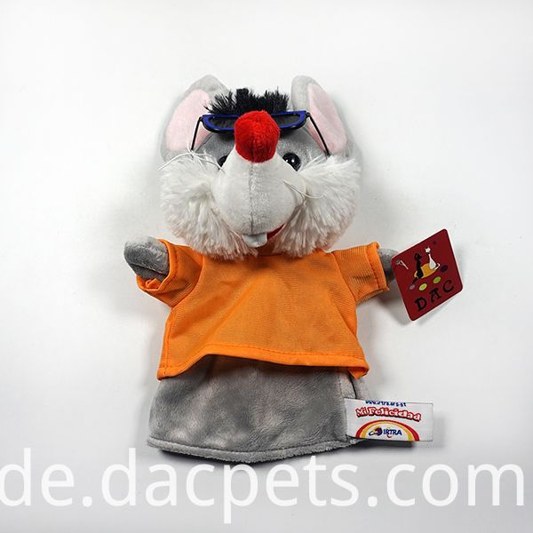 mouse plush hand puppet with glass