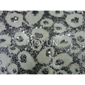 """SPIDER MESH WITH 7MM SEQUIN +FOIL EMBROIDERY 50 52"""""""