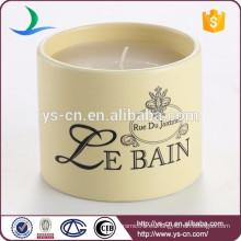 Fábrica al por mayor Moderna ronda Decal Candle Candle de cerámica
