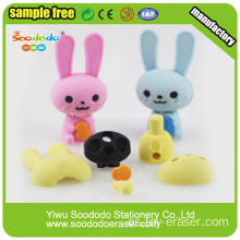 Top Quiality azul y rosa de largo Ear Rabbit Eraser