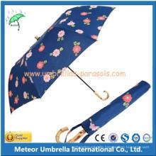 Promotion Bamboo Handle Manual 2 Folding Rain Umbrella