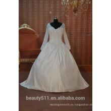 EN STOCK el vestido nupcial SW04 del vestido de boda del vestido de bola del v-cuello de la manga larga