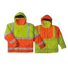 Hi-vis waterproof quilt-lined jacket with PVC  tape