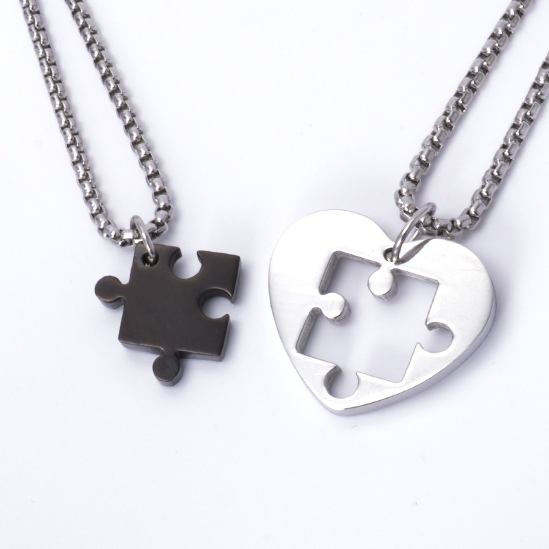 Jigsaw Heart-Shaped Couple Pendant And Charms