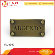 Anti-brass Classic regal style customized engraved letters metal labels