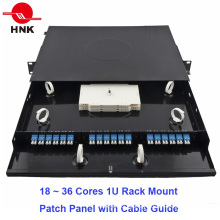 """48cores 1u 19"""" Rack Mount Patch Panel with Cable Guide"""