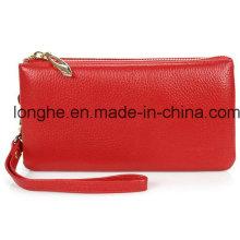 Bolsa de embrague de alta capacidad de cuero real (ly0120)