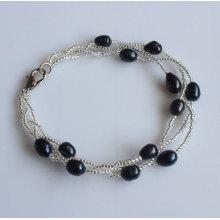 Bracelete de pérolas de água doce com jóias baratas (EB1536-1)