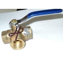 robinet à tournant sphérique à trois voies en laiton forgé