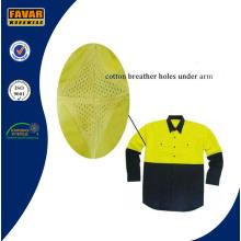 Fluro желтого хлопка дрель летние длинные рукав рубашки безопасности спецодежды с сеткой вентиляционное отверстие