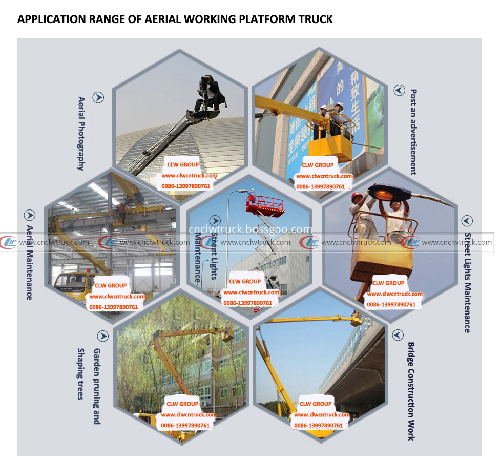 application range of aerial working platform truck logo