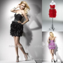 Sweetheart Column Black Lilac Tiered Mini Short Crystal Cetim Vestido Homecoming Vestidos Graduação