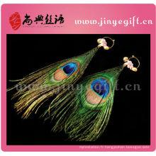 Pendentif Bling perlé à la main avec des plumes d'oeil de paon
