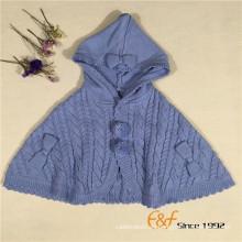 Color liso precioso suéter Cardigan Cape Coat Cloak para niñas