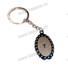 Stainless Steel Medal Cross Pendant with Prayer English Words Catholic Keychain
