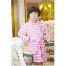 Rodilla longitud raya rosa niñas niños niños polar cálido suave bata de baño