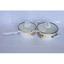 Carbon steel enamel saucepan set with bakelite handle and glass lid